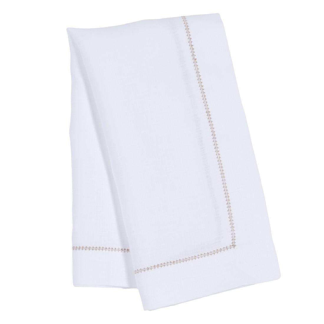 White Napkin With Tan Hemstitch White Napkins Linen Dinner Napkins Luxury Linen