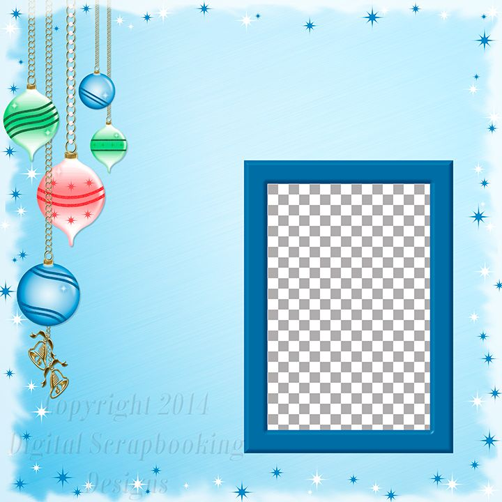 "Layout QP 11A.....Quick Page, Blue, Digital Scrapbooking, Christmas Time Collection, 12"" x 12"", 300 dpi, PNG File Format"