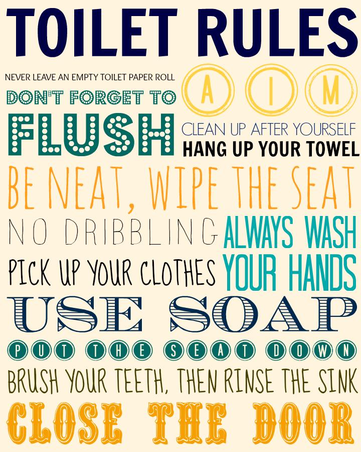 toilet rules | Toilet rules, Bathroom rules printable