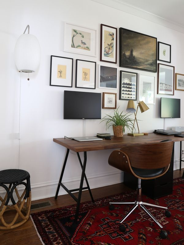 Two Person Desk And Gallery Wall Ikea Home Office Home Office