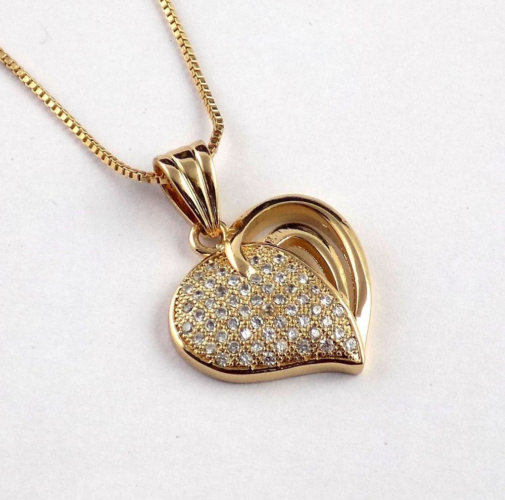 Elegant Design Heart Shape Pendent With CZ Stone Chain Necklace ...