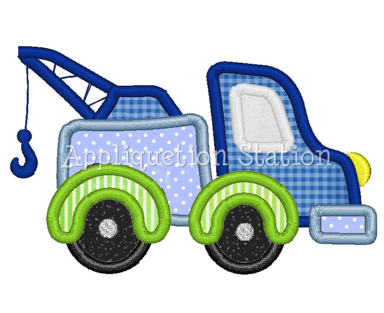 Tow Truck Applique Machine Embroidery Design blue green boy ...