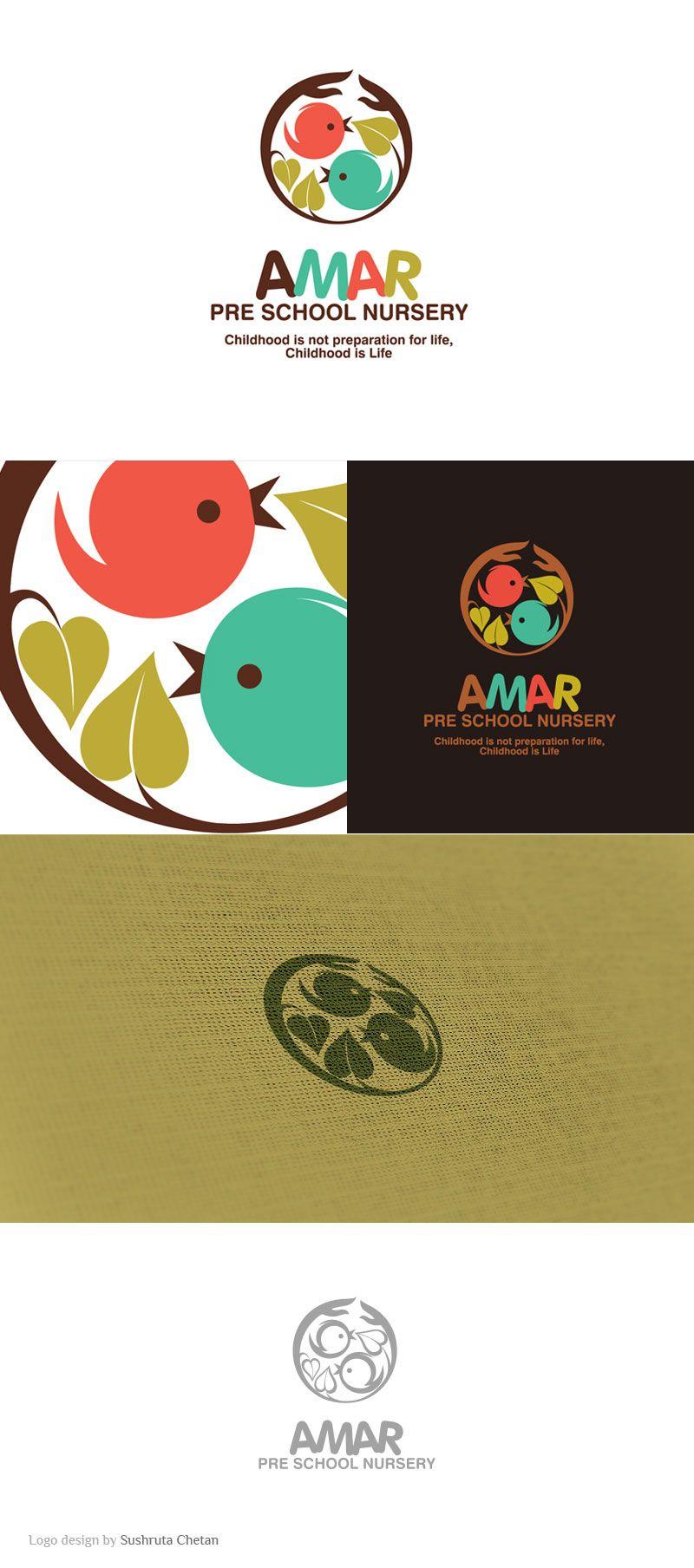 Logo Design Amar Pre-school Nursery. Kid