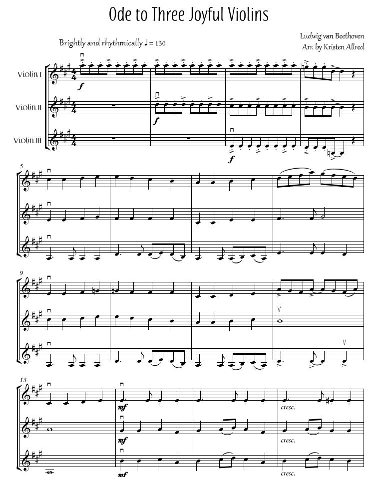 All Music Chords plain sheet music : Ode to Three Joyful Violins - Lively, fun Violin Trio arrangement ...