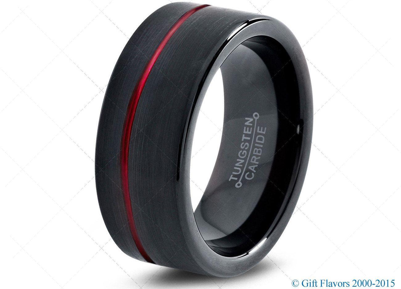 Black Tungsten Ring Red Men Tungsten Rings Red Wedding Bands Red