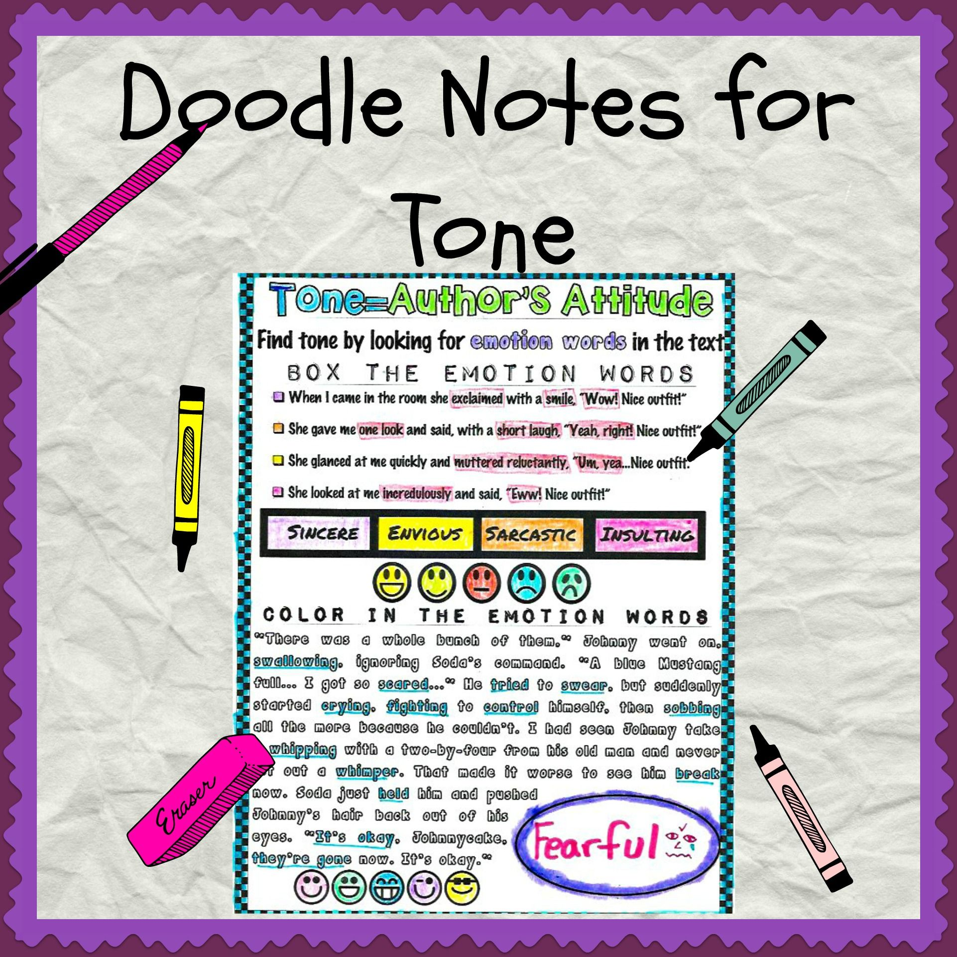 English Cheat Sheet Doodle Notes Tone