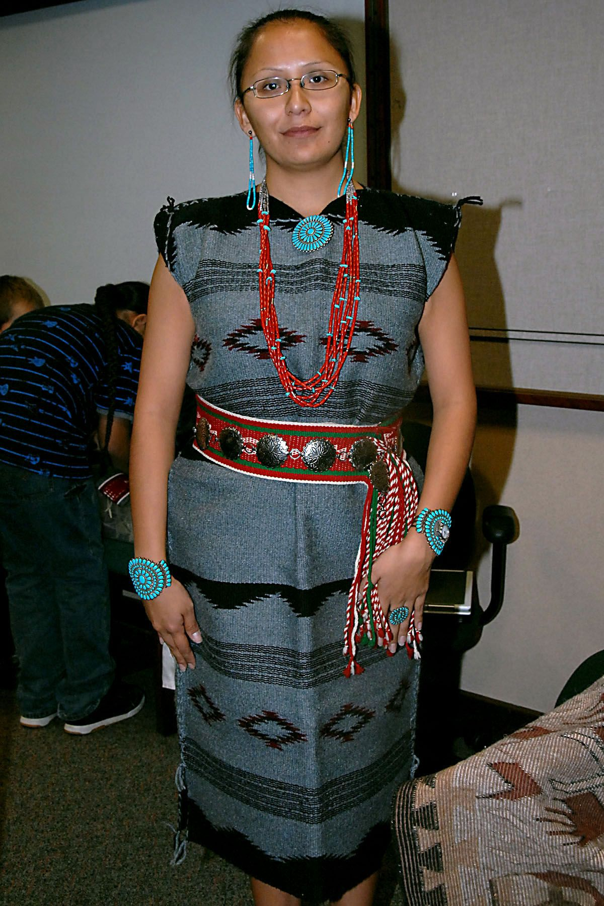 Navajo dress & turquoise & woven belt- this or traditional ...