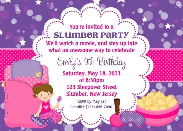 Sweet Purple Card Background Style Birthday Party Invitation Wording - best of birthday invitations sleepover party