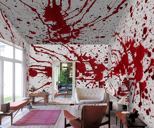 Horror Blood Splatter Painted Walls Be Sure To Check Us Out On Fb Www Facebook Uniqueintuitions1 Uniqueintuitions Gothic Gothiclivingroom