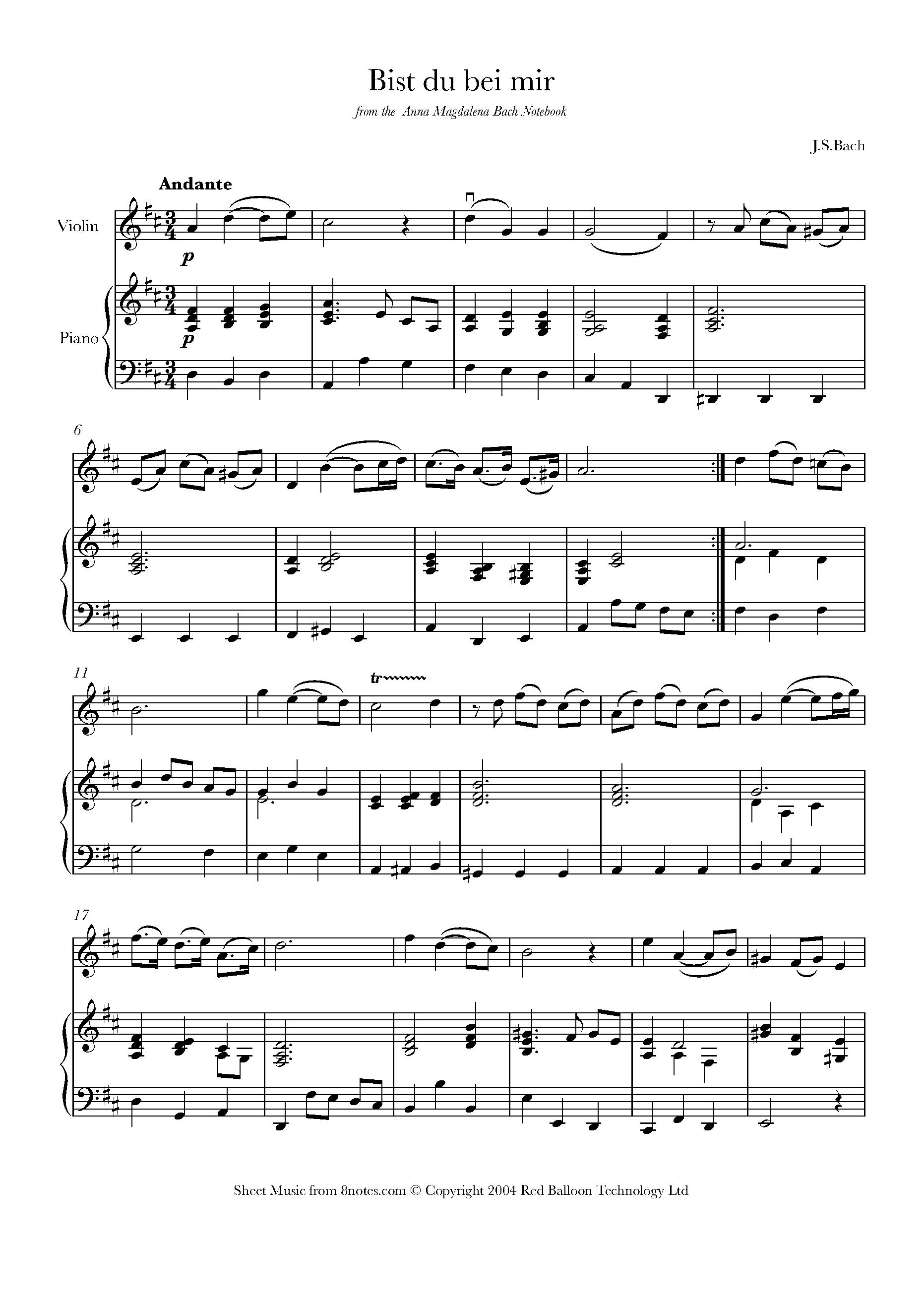 Bach Bist Du Bei Mir Sheet Music For Violin 8notescom