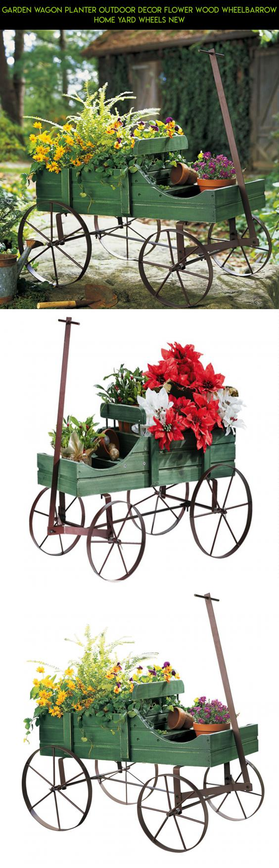 Garden Wagon Planter Outdoor Decor Flower Wood Wheelbarrow Home Yard Wheels  New #camera #kit