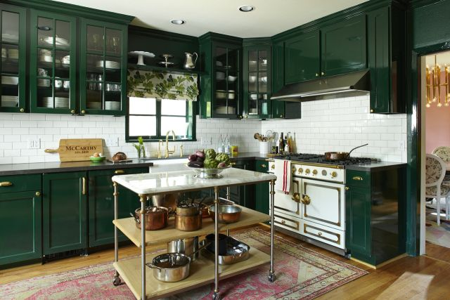 Steele This! The Industrial Kitchen Island | Your Hub for Southern Culture Emerald green kitchen