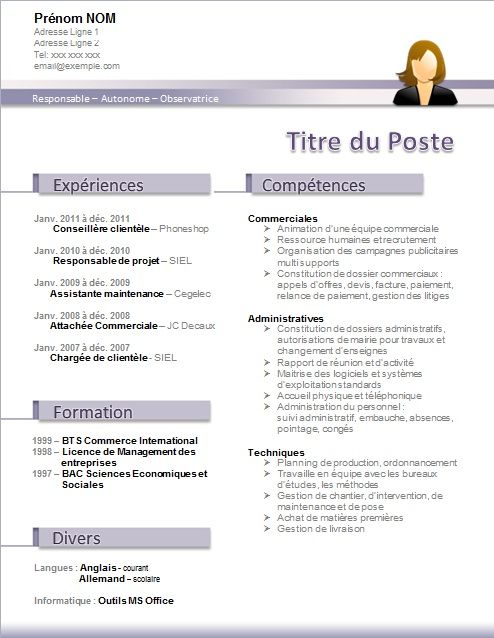 modele cv word gratuit sans photo
