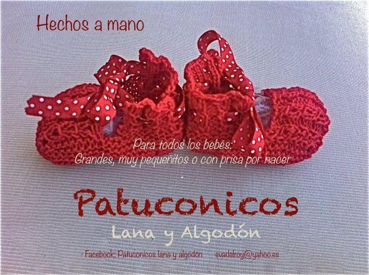 Baby in red. baby booties Patuconicos   https://www.facebook.com/pages/Patuconicos-lana-y-algodón/133197553517428?ref=hl http://patuconicos.blogspot.com.es