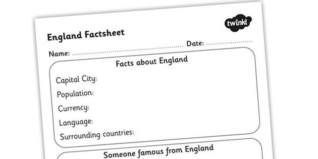 England Factsheet Writing Template  England England Fact Sheet