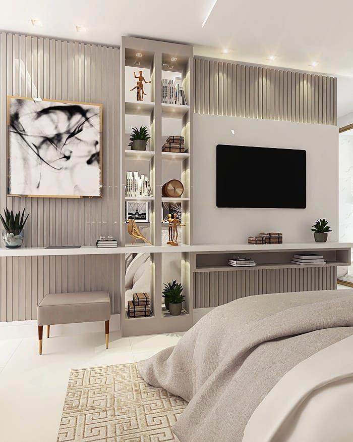 Arq Mariana Correa On Instagram Suite Master Nesse Projeto Os Tons Neutros Na Marcenaria Bedroom Tv Wall Luxury Bedroom Design Modern Living Room Interior Bedroom design tv wall