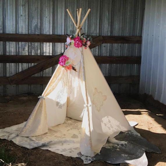 Boho Vintage Lace Teepee - Shabby Chic Nursery Decor - Bohemian Girls Teepee Tent & Boho Vintage Lace Teepee - Shabby Chic Nursery Decor - Bohemian ...
