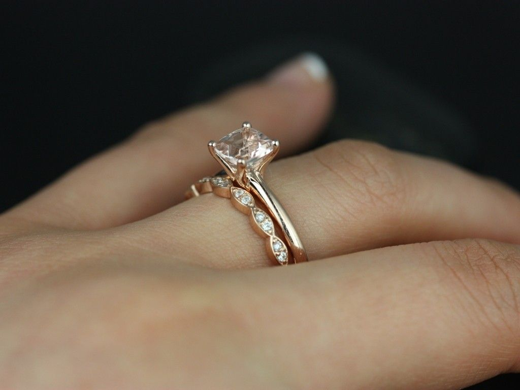 solitaire engagement ring with a diamond band, all rose gold. my