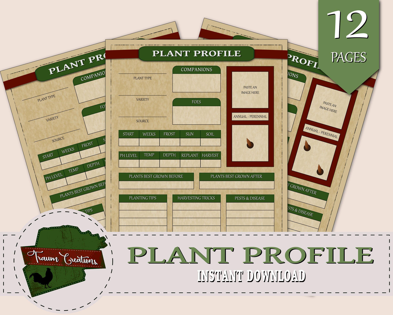 Printable Garden Planner Plant Profile Insert, INSTANT ...