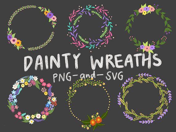 Photo of FLORAL POWERS, hand drawn wreaths, doodle clipart, drawn wreaths, PNG, SVG, vector wreaths, wedding, cute wreaths, wreaths, floral frames