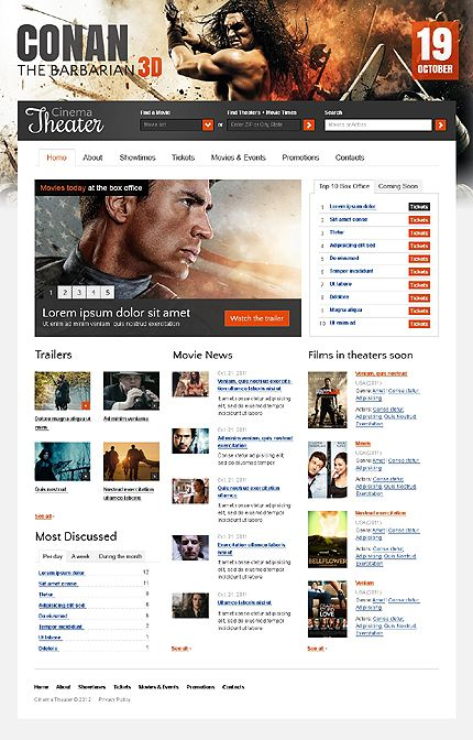 Movie Trailers & Showtime Web Design Template | Movies, Games ...
