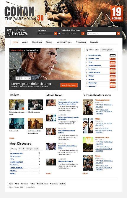 template 36819 cinema films website template design pinterest