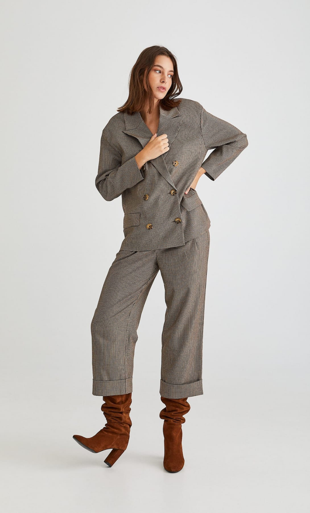Pantalon jupe-culotte à carreaux