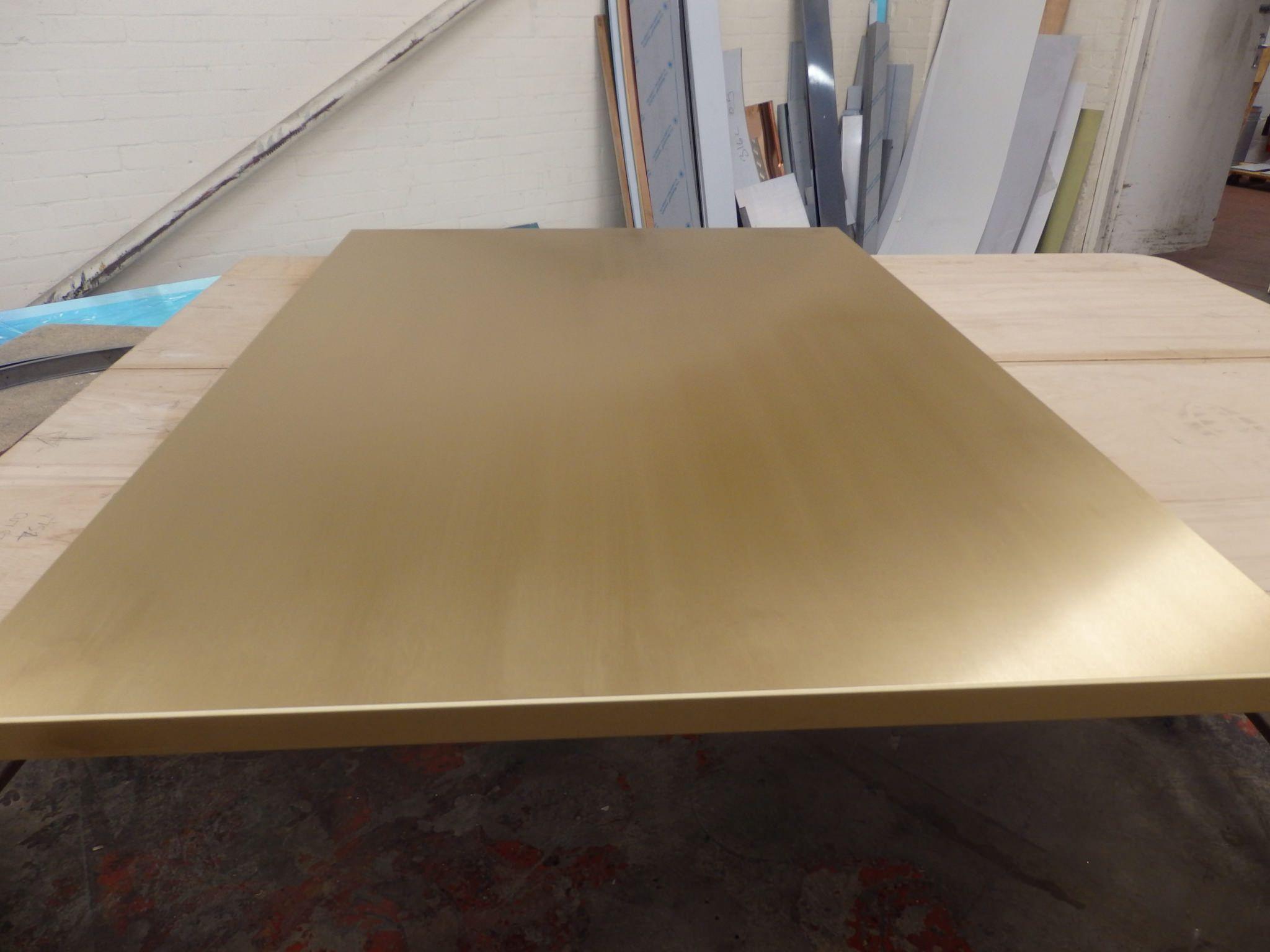 Brushed Brass Table Top Steel Sheet Metal Bar Interior