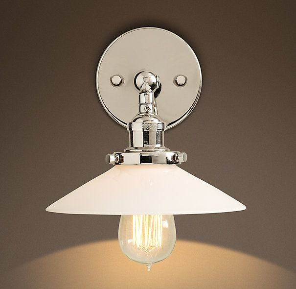 20th C. Factory Milk Glass Filament Sconce in Polished Nickel from ...