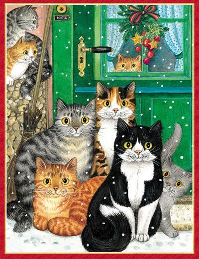 watching for santa claws christmas cats katzen katze. Black Bedroom Furniture Sets. Home Design Ideas