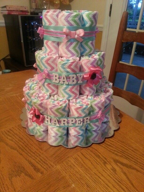 Baby Girl Diaper Cake Made With The Honest Company Diapers