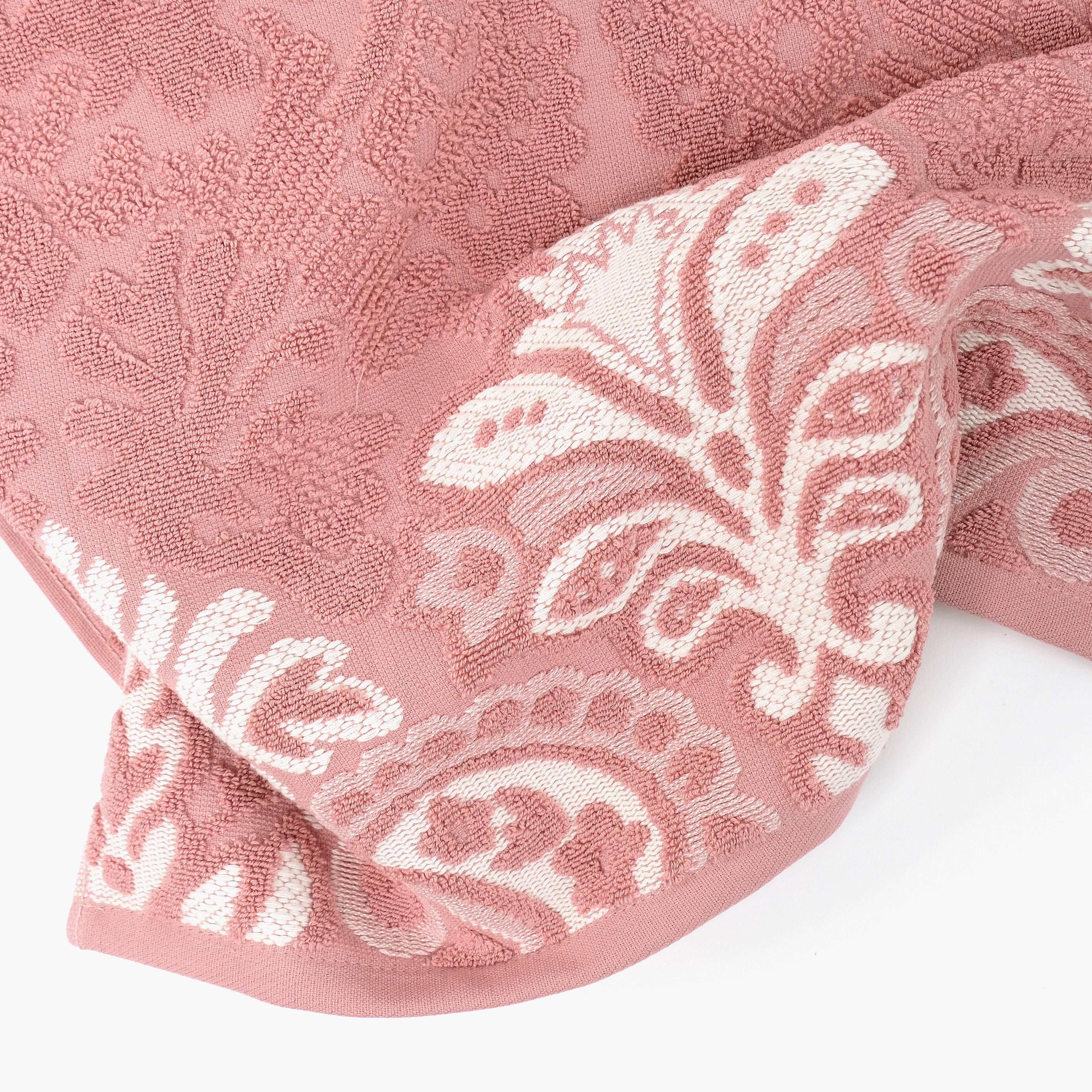 Pormenor de Toalha de Banho Jacquard Rosa e Natural 50 x