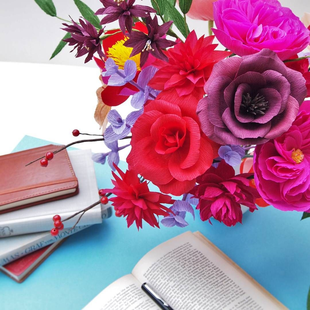 Crepe paper rose and dahlia arrangement flowers books red and crepe paper rose and dahlia arrangement flowers books red and plum wedding centerpiece izmirmasajfo
