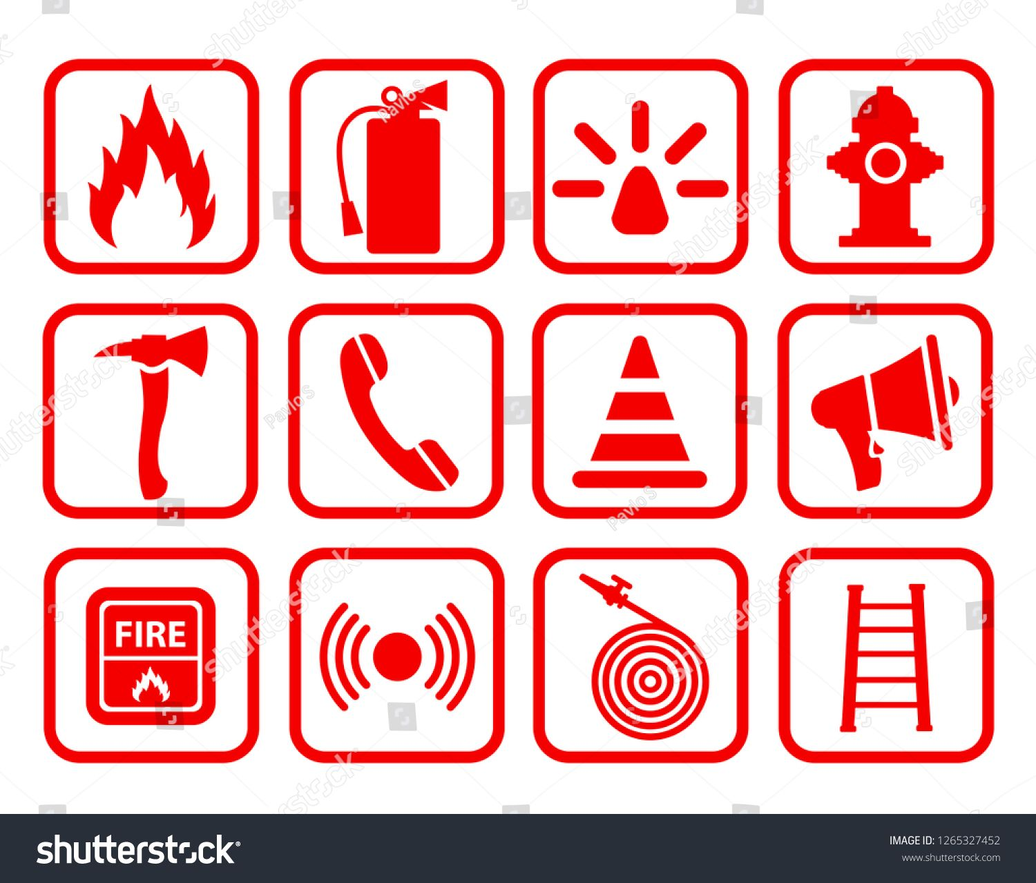 Fire extinguisher icon. Flat fire safety for stock
