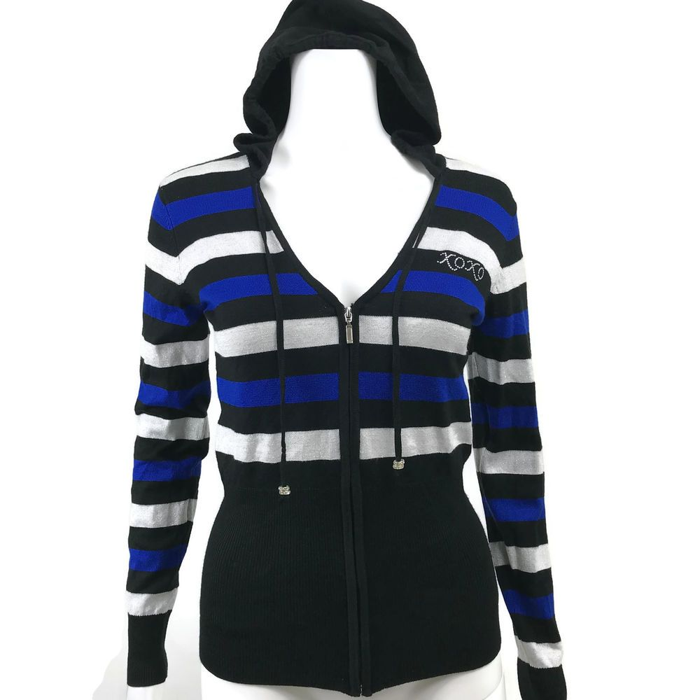 NEW NWT XOXO Womens Size Medium Hoodie Sweater Full Zip Stripe ...