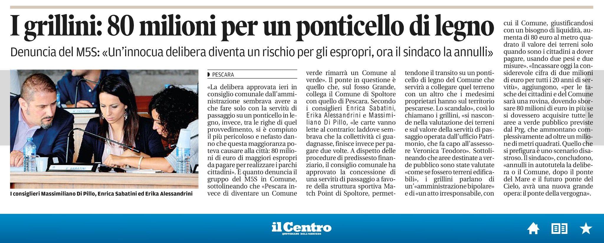 #29gennaio 2015 #lavori pubblici #ponticello #matchpoint #espropri #verde pubblico #enrica sabatini #beppe grillo #movimento 5 stelle