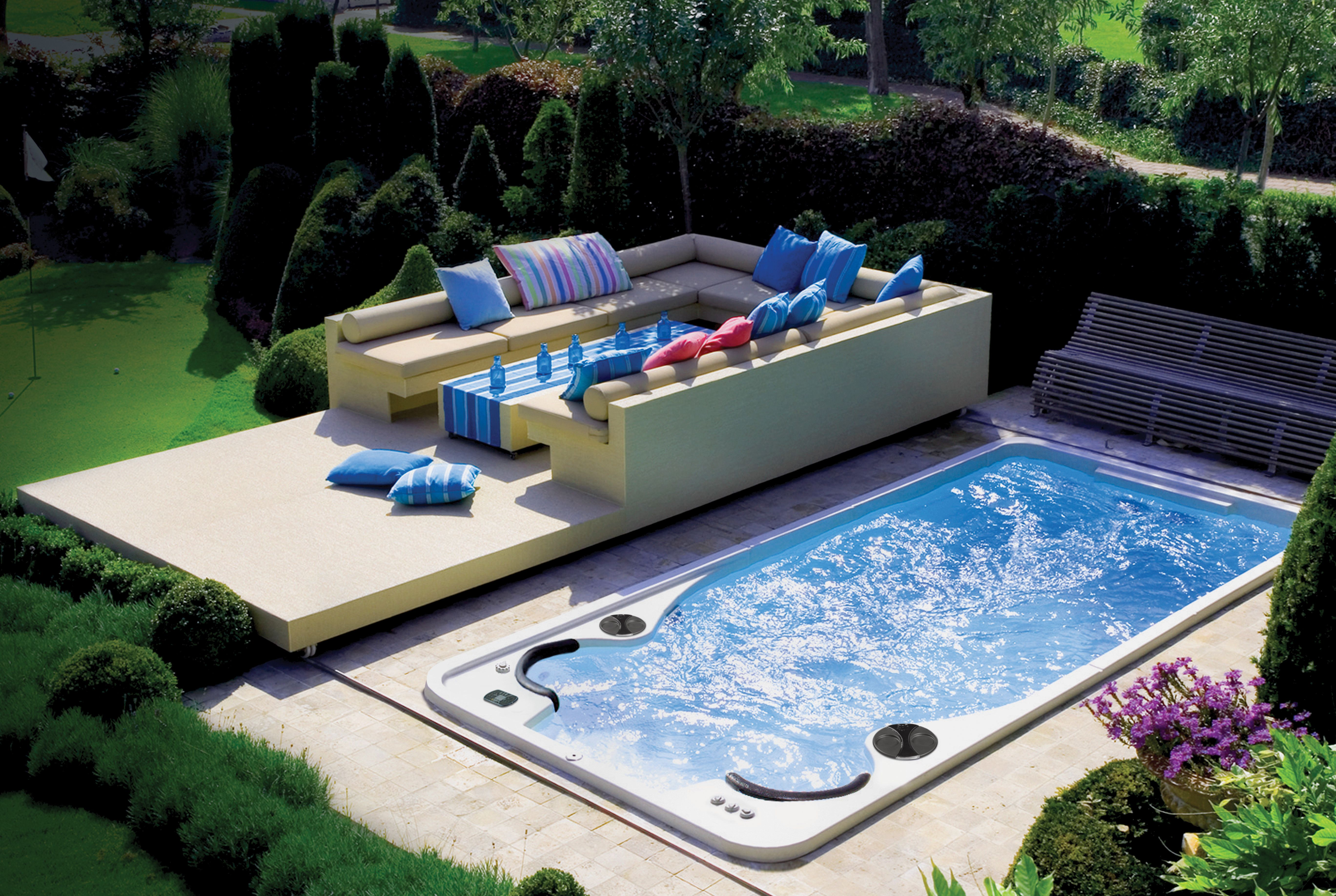Like all Hydropool swim spas, the 17fX AquaSport can be ...