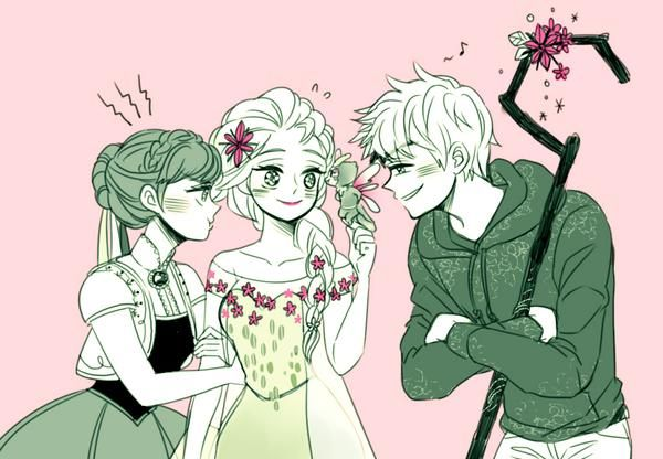 Anna is jealous. Jack isn't looking at baby tooth. Elsa is oblivious of the matter. Anna doesn't approve of Jack.