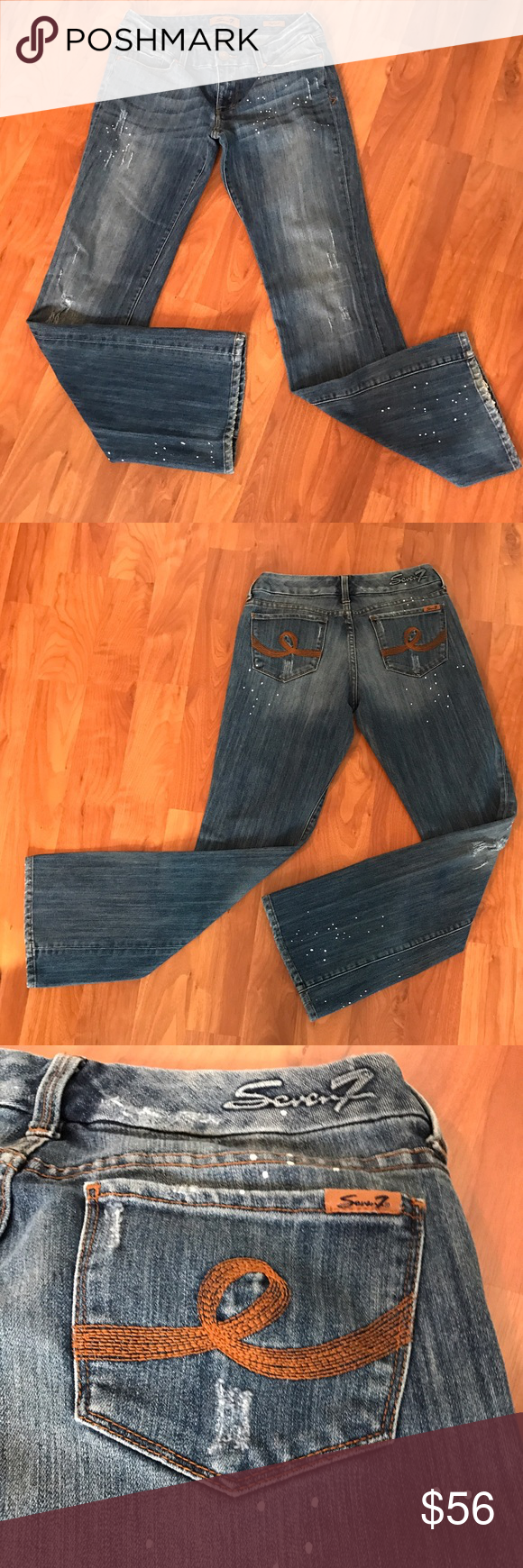 Seven 7 trendy paint splatter jean Seven 7 for all mankind trendy paint splatter jean, great shape, come from a smoke free home Seven7 Jeans Boot Cut
