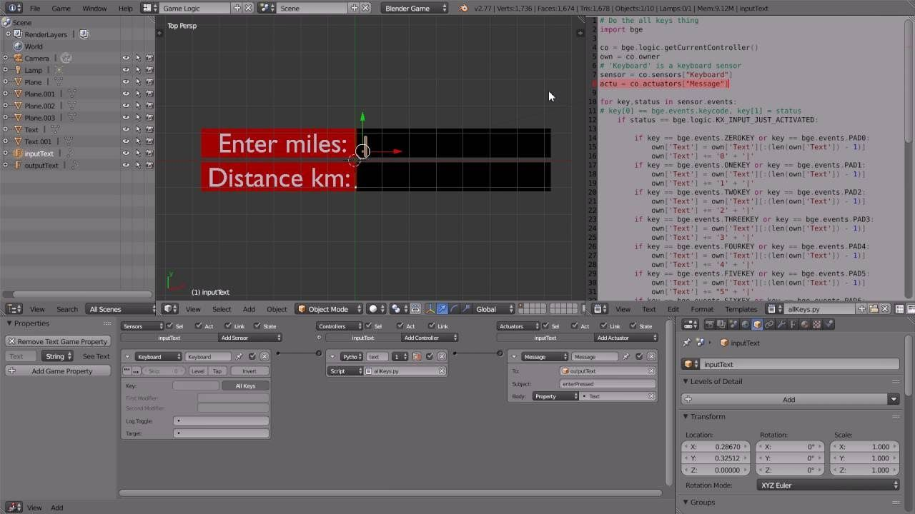 Blender Game Engine Scripting Tutorial Input Process