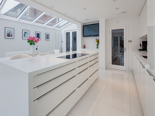 MODERN SLEEK HUGE KITCHEN | Gloss Kitchen in an Edwardian ...