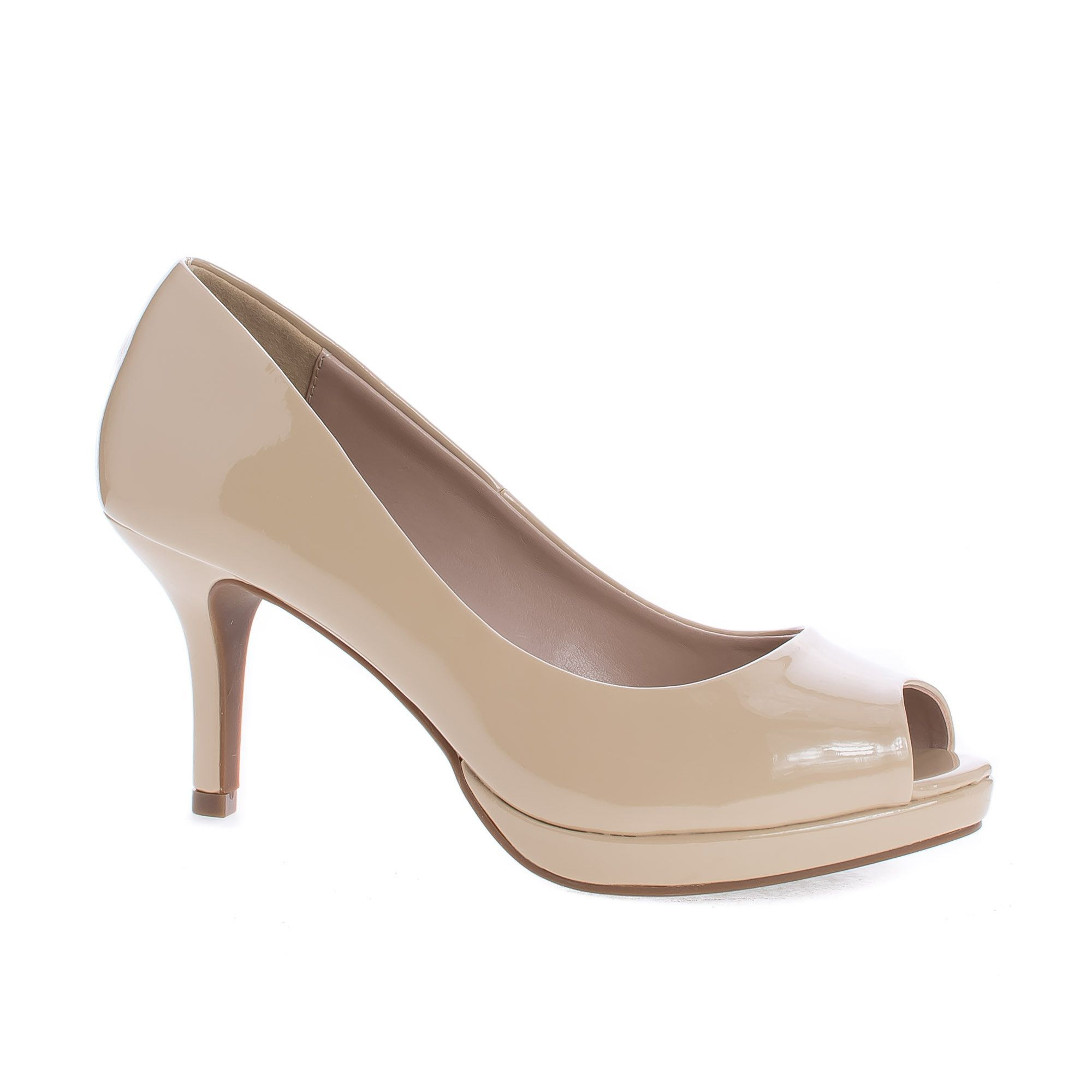 Walter Dark Beige Patent Peep Toe Extra Comfort Insole Stiletto Heel Classic Dress Pumps