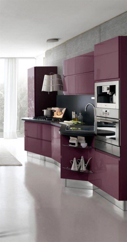 Cuisine Couleur Aubergine Inspirations Violettes En 71 Idees Designs De Petite Cuisine Cuisine Moderne Cuisine Design Moderne
