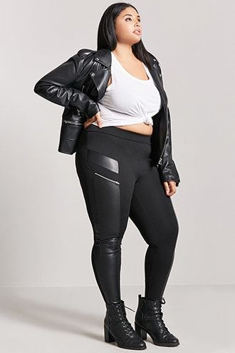 be4d1f44f1026 DetailsForever 21+ - A pair of knit leggings featuring faux leather front  panels, slanted