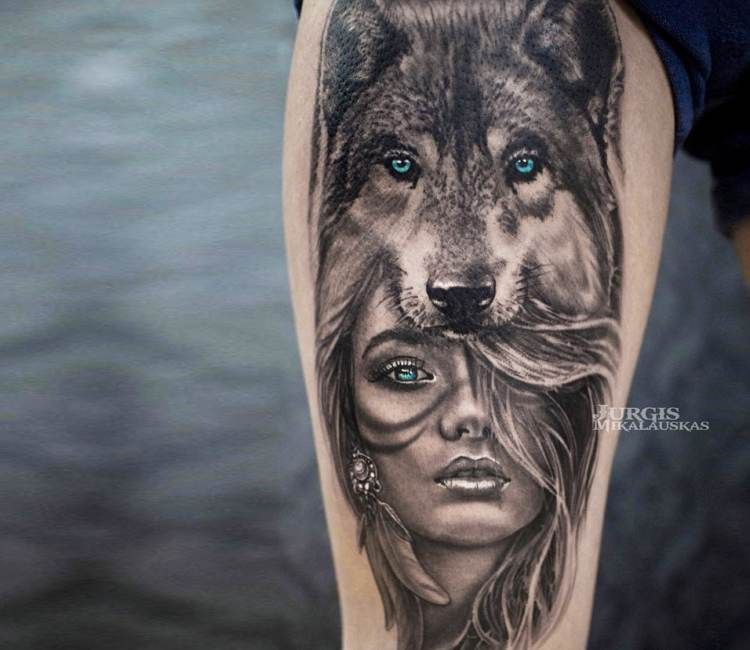 Wild Girl Tattoo By Jurgis Mikalauskas Post 21053 Indian Girl Tattoos Girls With Sleeve Tattoos Wolf Tattoo Forearm
