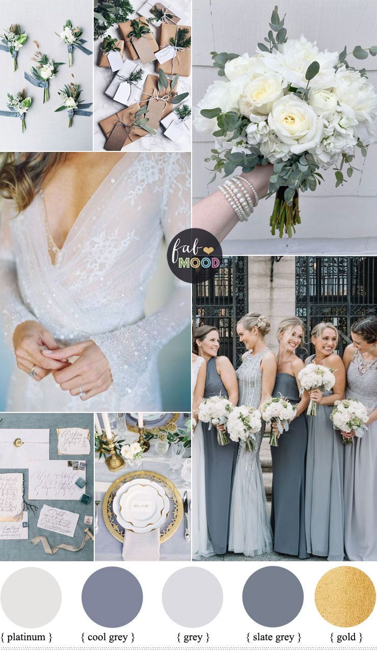 Shades Of Grey Winter Wedding Color Palette Ideas