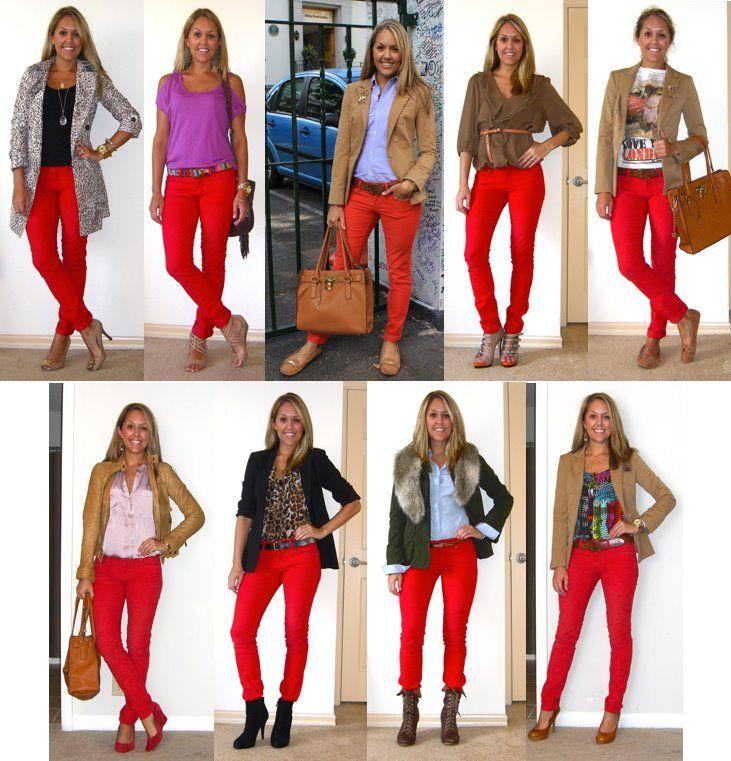 Jeans Und Rotes Enges Oberteil!