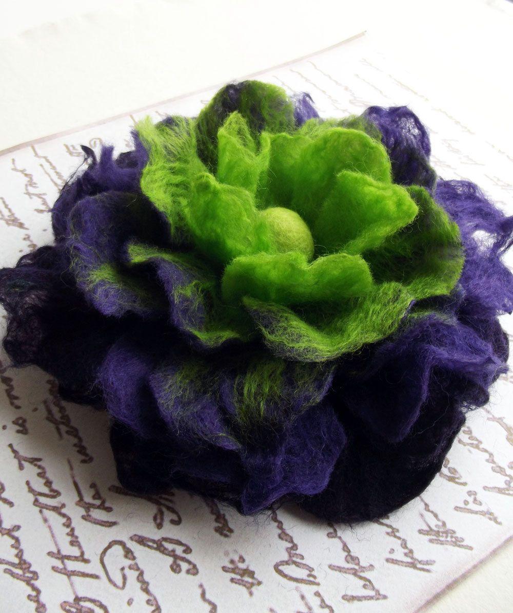 Hand Felted Flower Wearable Art Silky Flower in by ShishLOOKdesign = ETSY