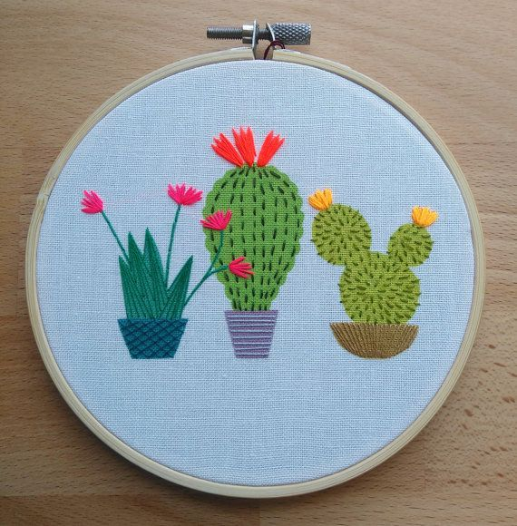 Cactus embroidery hoop art. Colourful contemporary hand stitched ...