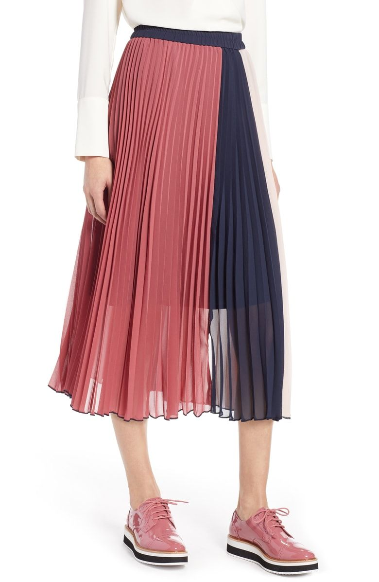 f1ce160150 Free shipping and returns on Halogen® x Atlantic-Pacific Colorblock Pleated  Midi Skirt (Regular & Petite) at Nordstrom.com. Crisp color blocking and ...